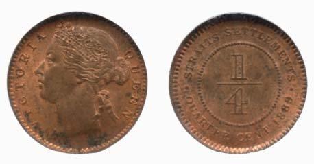 STRAITS SETTLEMENTS  Victoria: Copper 1/4-Cent 1889