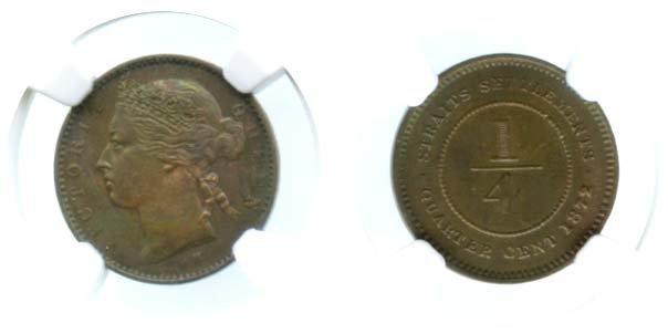 STRAITS SETTLEMENTS  Victoria: Copper 1/4-Cent 1872H