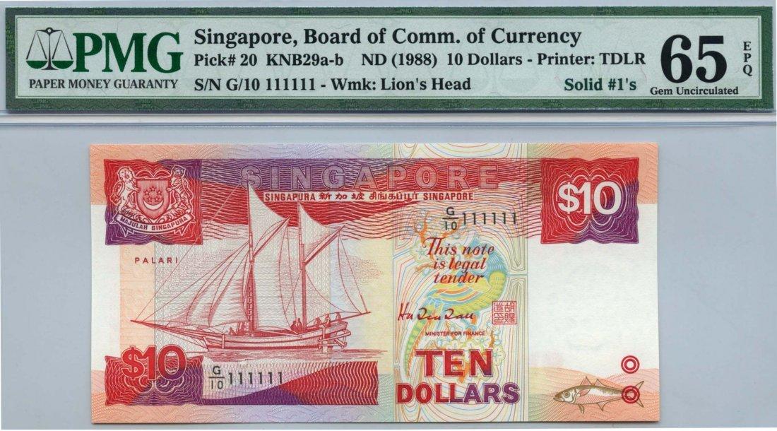 SINGAPORE Ship Series: $10  111111
