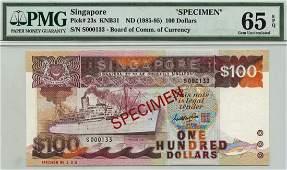 SINGAPORE Ship Series: $100 1985-95 Specimen
