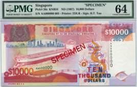 SINGAPORE Ship Series: $10,000 1987 Specimen