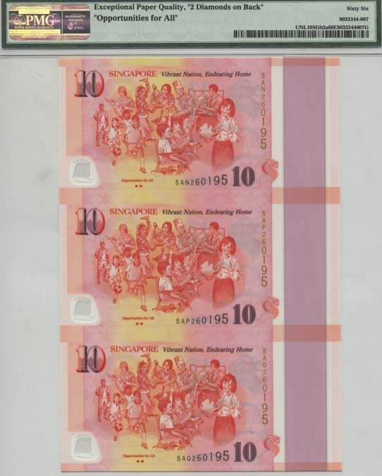 SINGAPORE SG50 Series: $10 uncut Opportunities for All