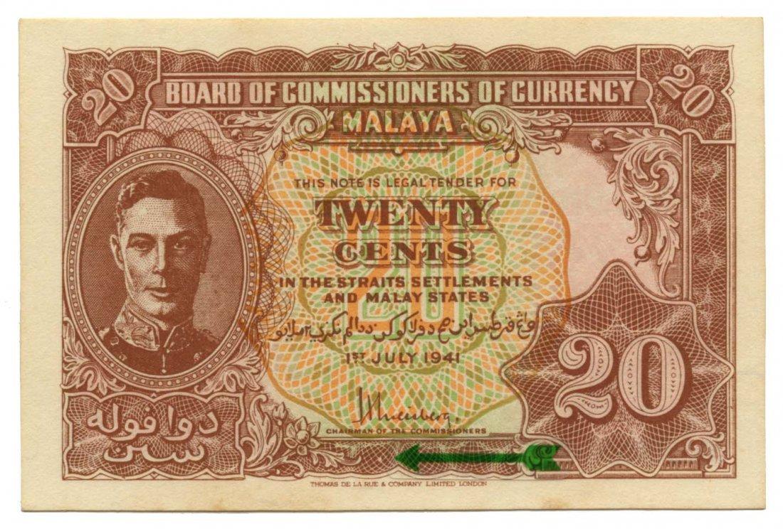 MALAYA  George VI: 20-Cents 1941 Dot variety