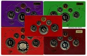 SINGAPORE Proof Set: 1975, 1976, 1978, 1980 and 1982
