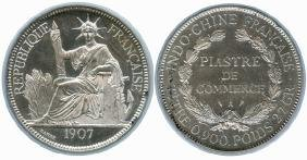 FRENCH INDO-CHINA Silver: 1-Piastre 1907A