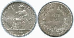 FRENCH INDO-CHINA Silver: 1-Piastre 1922H