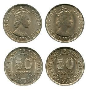 MALAYA & BRITISH BORNEO Elizabeth II: Cu-Ni 50 Cents