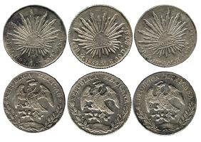 MEXICO Silver: Cap and Rays 8-Reales Mexico Mint (3pcs)