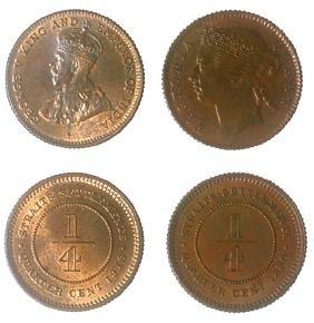 STRAITS SETTLEMENTS 1/4cts:Victoria 1889 & GeorgeV 1916