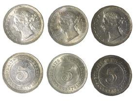 STRAITS SETTLEMENTS Victoria: Silver 5-cts 1889 & 1900