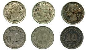 STRAITS SETTLEMENTS Victoria Silver 10c 1878,1884,1891