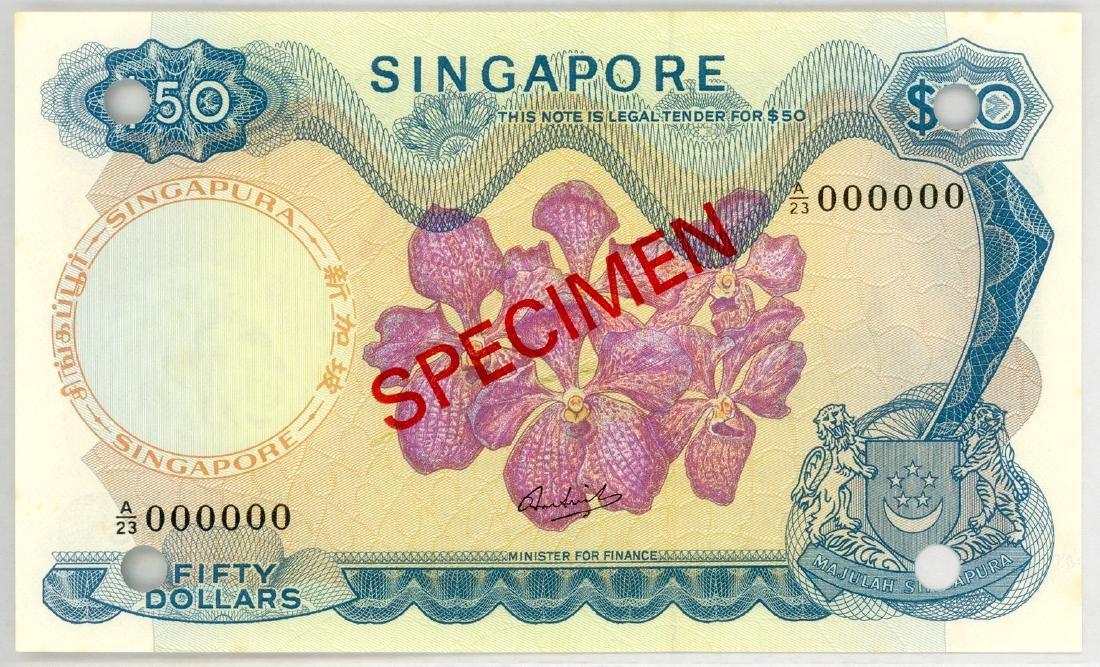 SINGAPORE $50 Specimen, s/n. A/23 000000  Original UNC