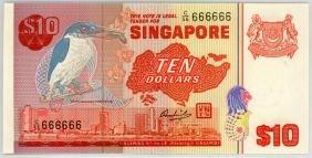 SINGAPORE $10 1976 Solid  C/56 666666 Original UNC