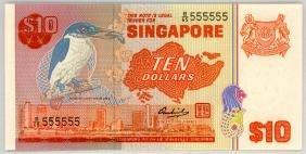 SINGAPORE $10 1976 Solid  C/65 555555 Original UNC