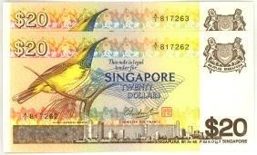 SINGAPORE $20 1976   A/1 817262-63 Original UNC. (2pcs)