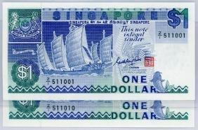 SINGAPORE $1 1987  Z/1 511001-10 Original UNC  (10pcs)