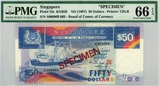 SINGAPORE $50 1987 S000069 Control Specimen no: 069