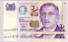 SINGAPORE $2 1999 Replacement 0ZZ031801-10 (10pcs)