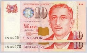 SINGAPORE  $10 1999 Replacement, Consecutive