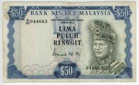 MALAYSIA  RM50 1976-81   A/85 044663  Error note