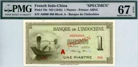 FRENCH INDO-CHINA 1-Piastre 1945 Specimen