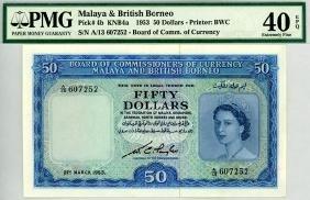 MALAYA & BRITISH BORNEO $50 1953 s/n. A/13 607252