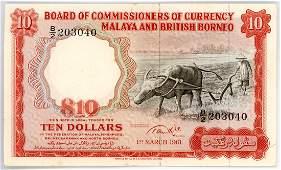 MALAYA & BRITISH BORNEO $10 1961 s/n. B/2 203040