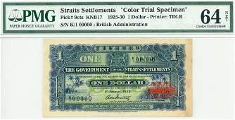 STRAITS SETTLEMENT $1 1925 Color Specimen K/1 00000