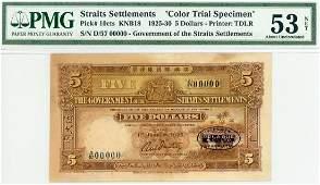STRAITS SETTLEMENT $5 1925 Color Specimen D/57 00000