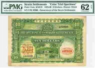 STRAITS SETTLEMENT $10 1925 Color Specimen C/82 00000.