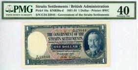 STRAITS SETTLEMENT $1 1934 s/n. E/24 23844