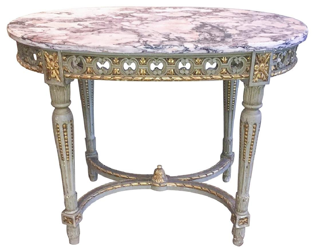 19th C. French Louis Xvi Parcel Gilt Table
