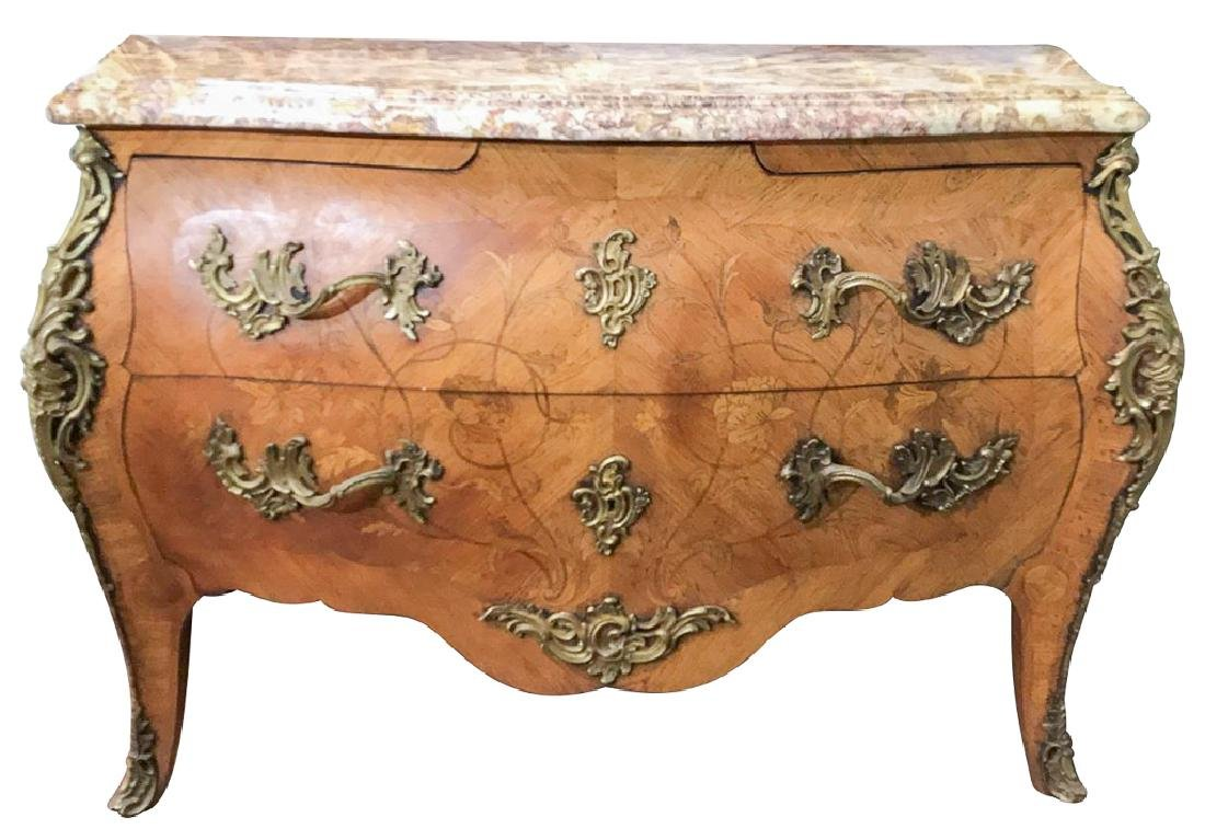 French Kingwood Louis Xv Style Bombe Commode,
