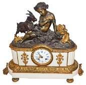 Fine Gilt And Patinated Bronze Figural Clock