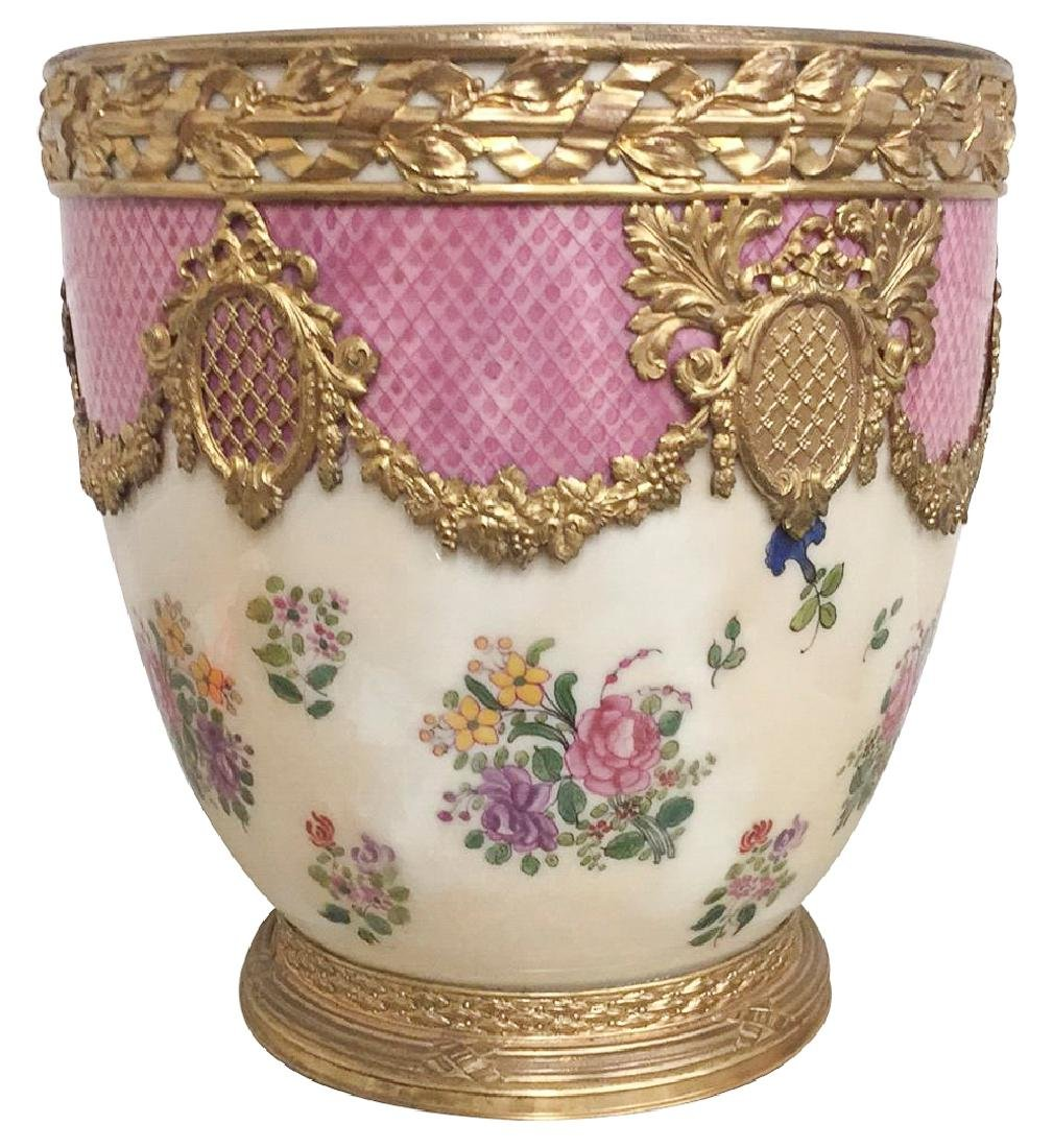 Exquisite French Porcelain Cache Pot, Possibly