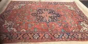 Antique Persian Heriz Carpet 73 X 96
