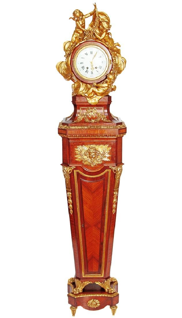 Important French Kingwood Longcase Clock, With