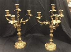 Pair Of French Bronze Candelabra, Rococo Style
