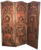 A 3panel Early English Leather Screen All