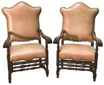 Large Pair Of Italian Walnut Armchairs L
