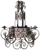 A Large French Wrought Iron 12 Light Fixture,