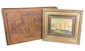 Two Piece Lot, Oil Painting Of Sailing Ship,
