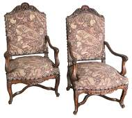 French Pair Of Regence Walnut Armchair 19 Th