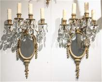 Pair Of French Gilt Bronze 4-light Sconce