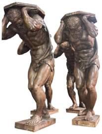 Set Of 4 Italian Carved Walnut Figural
