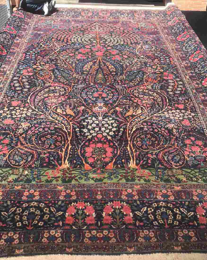 Antique Persian Lavar Kerman Carpet, Tree Of