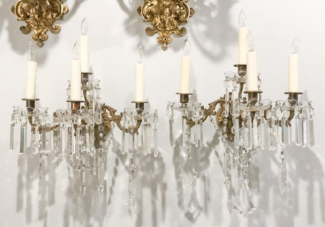 Pair Of French Gilt Bronze & Crystal Sconce