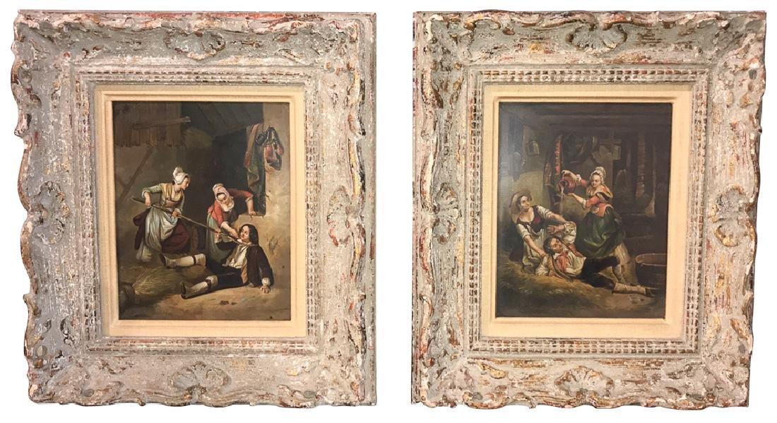 Pair Of Flemish Interior Scene Paintings On