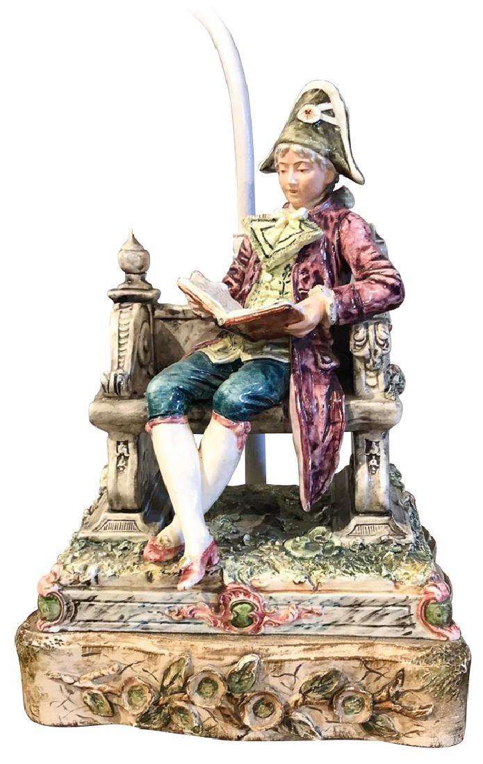 French Majolica Figure, Man  Reading