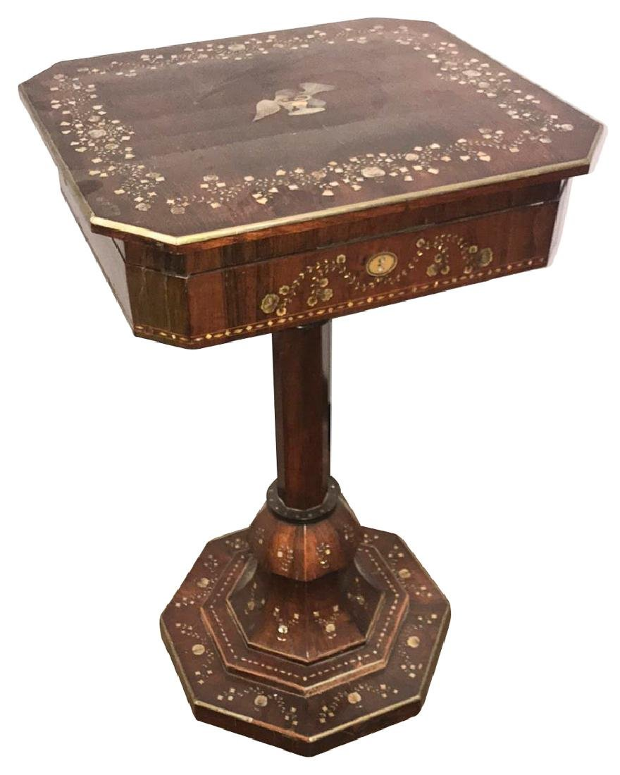 Antique English Rosewood Vanity Table, Set On